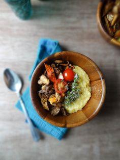 creamy polenta ~ balsamic wild mushrooms & tomatoes