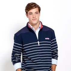 Vineyard Vines Men's Race Stripe Shep Shirt  Subtle stripes add just a touch of style to the New Women's Vineyard Vines Striped Shoulder Shep Shirt.
