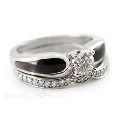 """Delightfully Dark Black Mother of Pearl Engagement Ring with Diamond Wedding Band. This unique inlay looks different from every angle. """"Moonlit Mist - Radiance"""""""