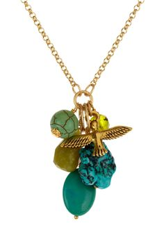 Green Multi Charm Necklace