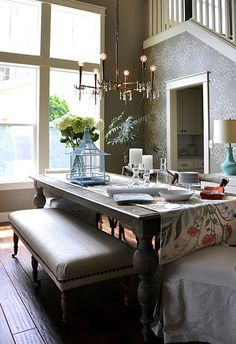 Dining Room #dining #room #table #gray #bench