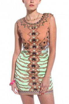 Tribal Printed Sleeveless Dress in Mocha Mint @ shopakira.com http://www.pinterest.com/shopakira