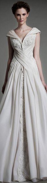 Unique cross over wedding dress
