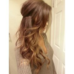 Gorgeous Hair. I love the pretty brown color with highlights & the style too.