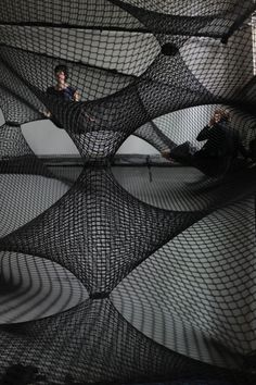 A community hammock by Numen/For Use mounted at Z33 – Huis voor actuele kunst, in Hasselt