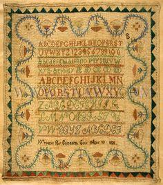 elizabeth cox, circa 1828, 10 circa, cross stitch, antiqu sampler, age 10