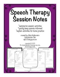 Speech therapy session notes