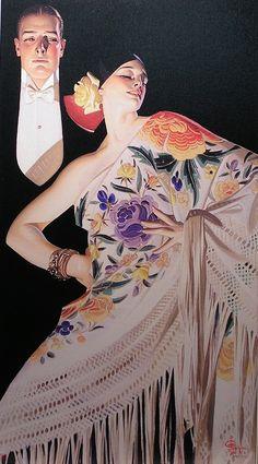J. C. Leyendecker Woman with Spanish Shawl 1922