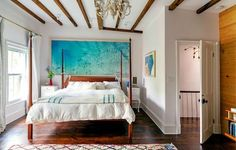 Incredible seascape beach scene painting behind bed something borrowed, something new headboard, beds, art, ceilings, beam, hous, bedrooms, beastie boys, brooklyn