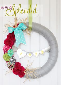 Valentine Wreath   Positively Splendid {Crafts, Sewing, Recipes and Home Decor}