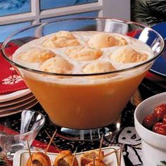 For punch bowl:  Orange sherbert punch (with 7-up) I need this at my next shower! I LOVE orange sherbert, it's been a pregnancy favorite!!!!
