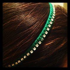DIY Rhinestone Head Wrap in Emerald Green. Tutorial here: http://wp.me/p2eGh5-tJ