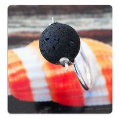 Santorini Volcanic Lava Rock Rotating Bead and Sterling Silver Ring .  Play with a Volcano @sunsan @GreekMythos #shopping