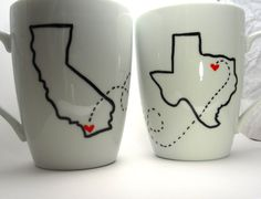 State Love Mugs -- One State/One Quote-- TWO Mugs -- Custom Present, Long Distance Relationship, BFF, Going Away Gift. $30.00, via Etsy.