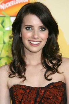 Emma Roberts long layered brunette hairstyle