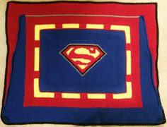 Superman Crochet Blanket Pattern!  Check it out on Etsy!