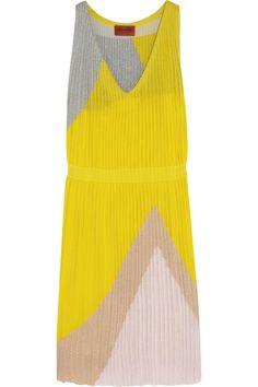 Missoni Pleated color-block stretch-knit dress