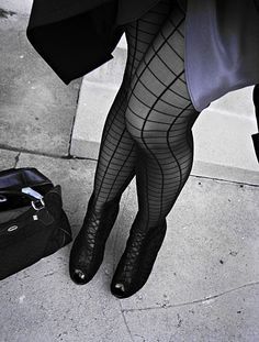 grid pantyhose+stockings with a grid+black and gray+vintage gucci+orig by ...love Maegan, via Flickr
