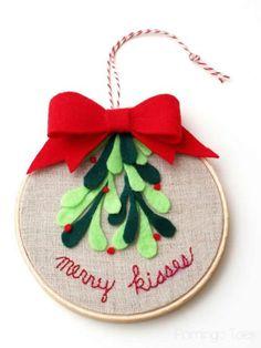 Mistletoe Embroidery Hoop Art