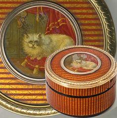 Antique French Vernis Martin & 18k Gold Snuff Box, Portrait Miniature: Cat