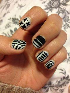 plastic bags, white design, nail polish, black white, black nails, nail arts, marc jacobs, gel polish, art nails
