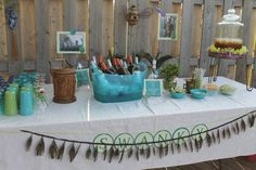 The Swanky Table - aka The Bar.  Iced Tea for the non-drinkers and a Make Your Own Mojito Bar (the bride-to-be's fav cocktail).
