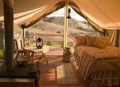 A beautifully decorated Cimarron Wall Tent ($630) seems like a very civilized way to brave the elements.