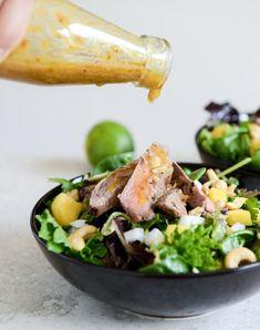thai steak salad with roasted mango chili vinaigrette