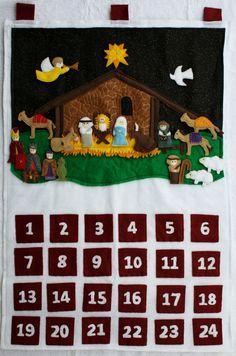 Felt Religious Advent Calendar Nativity Scene by KennasFeltForest, $200.00