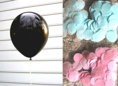 Gender Reveal Balloons! Light blue or light pink tissue paper confetti. Pop the balloon for amazing photos and a cute way to surprise everyone.