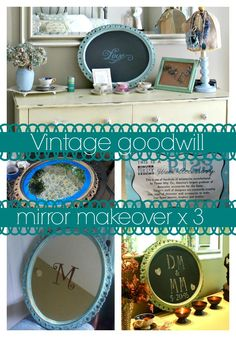 #vintage mirror from goodwill #chalkboard makeover