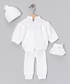 Take a look at this White Knit Cardigan Set by Tots Fifth Avenue on #zulily today!