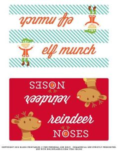 Christmas Bag Toppers Label Printable.  Great for topping #Ziploc bags full of your favorite holiday snack mix.