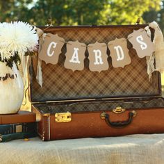 banner for a rustic wedding - perfect for a vintage suitcase