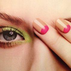 Nails nude and pink half moon mani