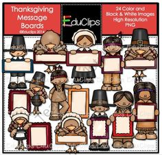 Thanksgiving Message Boards Clip Art Bundle from Educlips on TeachersNotebook.com -  (240 pages)  - Thanksgiving Message Boards Clip Art Bundle