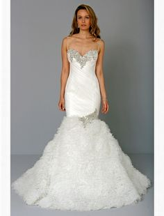 Bridal Gowns: Pnina Tornai Mermaid Wedding Dress with Sweetheart Neckline and Dropped Waist Waistline