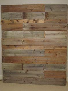 reclaimed wood headboard.