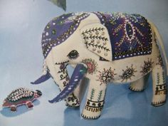 elephant with crazy quilt embroidery