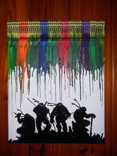 Love! Teenage Mutant Ninja Turtles Melted Crayon by OnceUponACrayon, $45.00