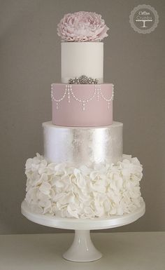 Silver Leaf & Ruffles cake | Flickr - Photo Sharing! dream cake, cotton, silver leaf, pink cakes, ruffle cake, blush pink, wedding cakes, silver weddings, ruffles