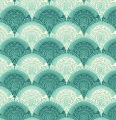 Tula Pink Prince Charming Voile Fabric - Snail Scallop - Aqua