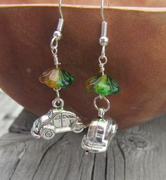 Volkswagen dangle earrings with flowers love bug by MontanaMagic