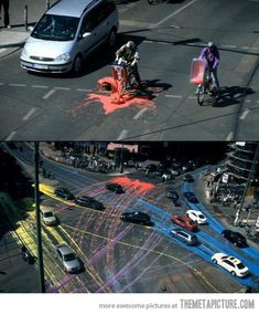 Awesome street art using biodegradable paint…