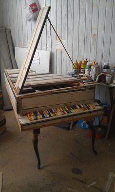 handmade wooden piano
