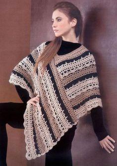 Crochet Striped Poncho via Craftsy