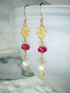 gold earrings with longido ruby and pearls gold by oneoffcreations, $45.00