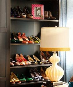 I love this shoe closet. ...the lamp and frame too! I found this on the blog Everything Fabulous.