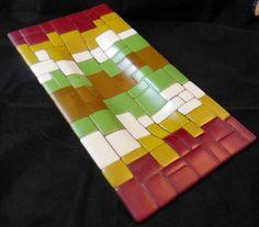 Mosaic Blocks Fused Glass Platter