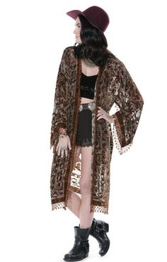 Paisley Spell Floral Velvet Burnout Kimono - Saltwater Gypsy #saltwatergypsy
